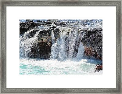 Ocean Waves Near Spouting Horn Framed Print by P S