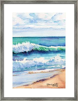 Framed Print featuring the painting Ocean Waves Of Kauai I by Marionette Taboniar