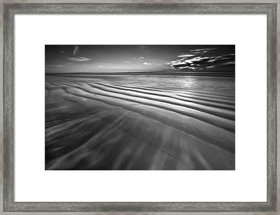 Ocean Waves Seascape Beach Sunrise Photograph In Black And White Framed Print