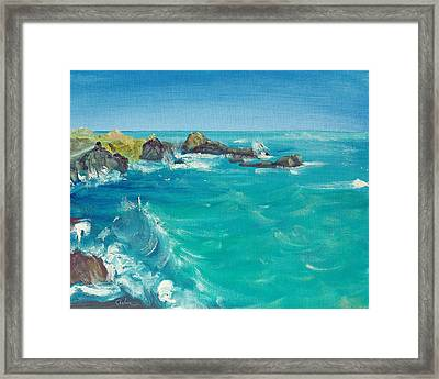Framed Print featuring the painting Oceano    by Asha Carolyn Young