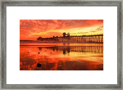 Framed Print featuring the photograph Oceanside Fire by Robert  Aycock