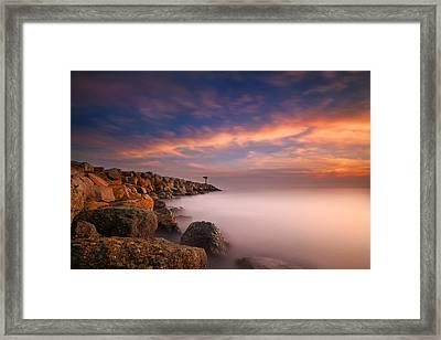 Oceanside Harbor Jetty Sunset 4 Framed Print by Larry Marshall