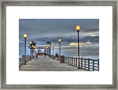 Oceanside Pier At Sunset Framed Print by Ann Patterson