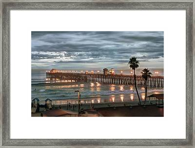 Oceanside Pier At Dusk Framed Print by Ann Patterson