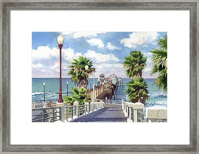 Oceanside Pier Framed Print by Mary Helmreich