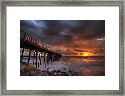 Oceanside Pier Perfect Sunset Ex-lrg Framed Print by Peter Tellone
