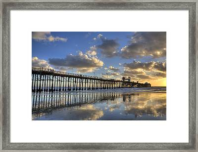 Oceanside Pier Sunset Reflection Framed Print