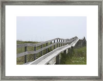 Ocracoke Boardwalk Framed Print by Cathy Lindsey