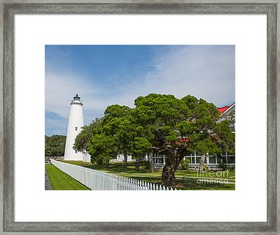 Ocracoke Lighthouse And Light Keeper's House Framed Print by Kay Pickens