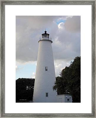 Ocracoke Lighthouse In The Clouds Framed Print by Tammy Wallace