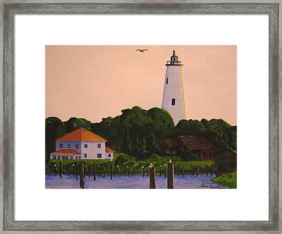 Ocracoke Lighthouse Framed Print by Stan Tenney