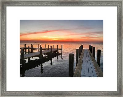 Ocracoke Pier At Sunset Framed Print by Patricia Januszkiewicz