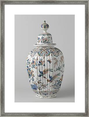 Octagonal Ribbed Vase With Lid Multicolored Painted Faience Framed Print by Quint Lox