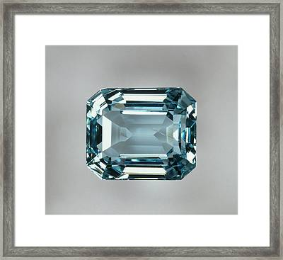 Octagonal Step-cut Aquamarine (beryl) Framed Print
