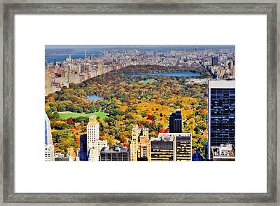 October Glow In Central Park Manhattan Skyline Framed Print by Dan Sproul