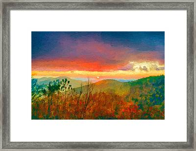 October Sunrise Painting On The Blue Ridge Parkway Framed Print