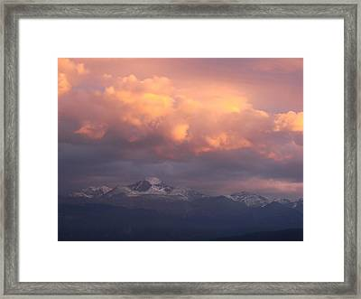 October Sunset Over Longs Peak Framed Print by Margaret Bobb