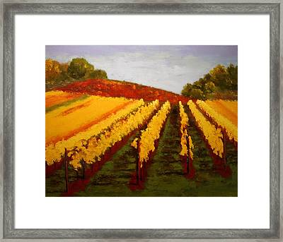 Framed Print featuring the painting October Vineyard by Nancy Jolley