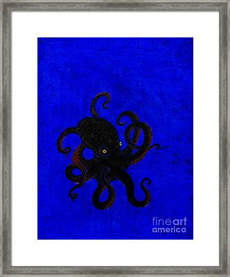 Octopus Black And Blue Framed Print