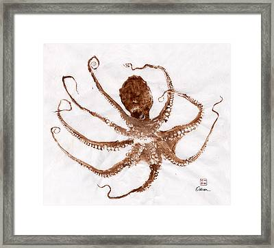 Octopus Gyotaku Framed Print by Odessa Kelley