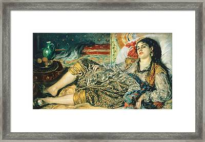 Odalisque An Algerian Woman Framed Print by Pierre Auguste Renoir
