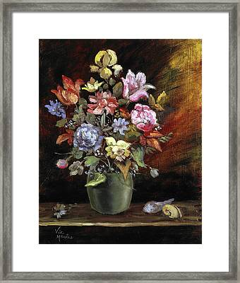 Framed Print featuring the painting Ode To Bathasar Van Der Ast by Vic  Mastis