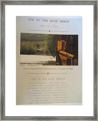 Ode To The Blue Heron Framed Print by Debbie Nester