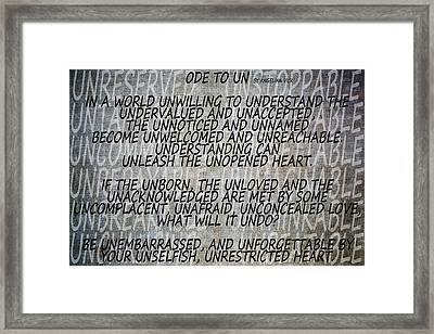 Ode To Un Framed Print by Angelina Vick