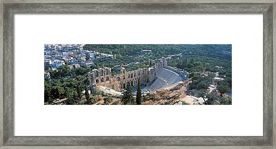 Odeon Tu Herodu Attku The Acropolis Framed Print by Panoramic Images