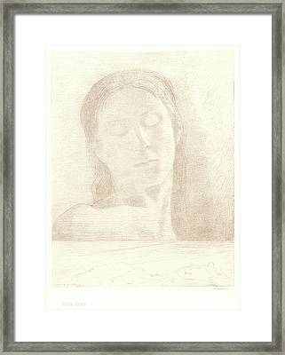Odilon Redon French, 1840 - 1916. Closed Eyes Yeux Clos Framed Print by Litz Collection