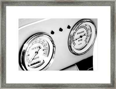 Odometer And Tachometer Of An Antique Car Framed Print