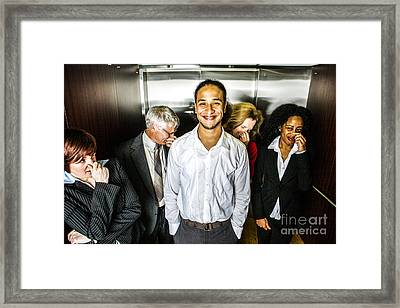 Odor In The Elevator Framed Print by Diane Diederich