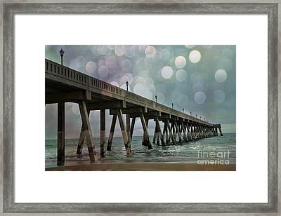 Wrightsville Beach Ocean Fishing Pier - Beach Ocean Coastal Fishing Pier  Framed Print by Kathy Fornal