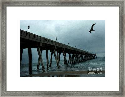 Oean Pier - Surreal Stormy Blue Pier Beach Ocean Fishing Pier With Seagull Framed Print