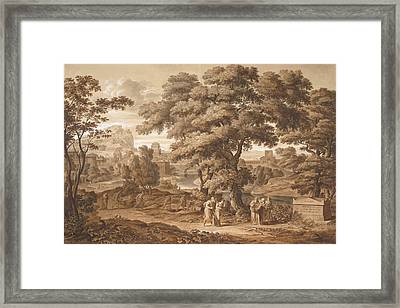 Oedipus And Antigone Leave Thebes Framed Print