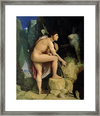 Oedipus And The Sphinx Framed Print by Ingres