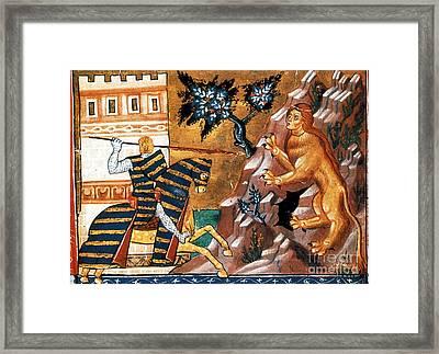 Oedipus Battles The Sphinx Framed Print