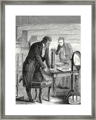 Oersted Discovers The Deviation Of A Magnetic Needle Framed Print