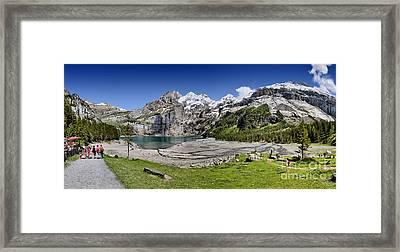 Framed Print featuring the photograph Oeschinen Lake by Carsten Reisinger