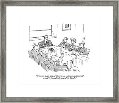 Of Course, Ladies And Gentlemen, The Optimum Framed Print by Jack Ziegler