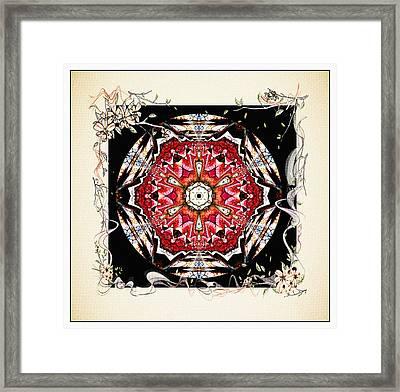 Of Wine And Roses Vintage Mandala Design Framed Print by Georgiana Romanovna