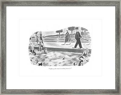 Of?cer, This Man Is Making Tunnels Framed Print