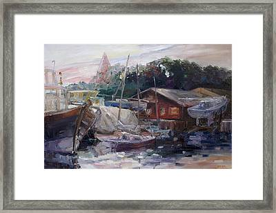 Off Hours At The Ship Yard In Kirchdorf Island Poel Framed Print by Barbara Pommerenke
