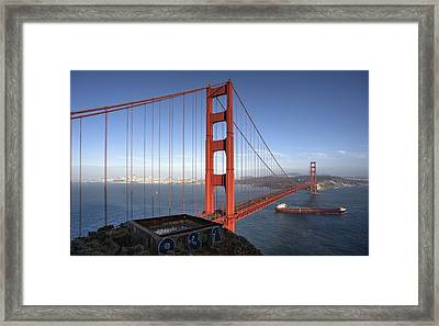 Off She Goes On A Long Voyage Framed Print by Peter Thoeny