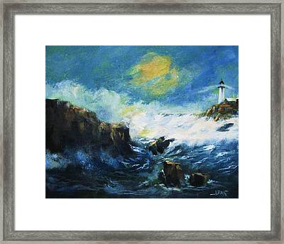 Framed Print featuring the painting Off Shore Breakers At Dusk by Al Brown