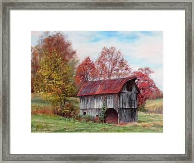 Off The Beaten Track-old Barn With Red Roof Framed Print