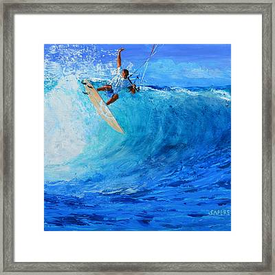 Off The Lip Framed Print by Lynee Sapere