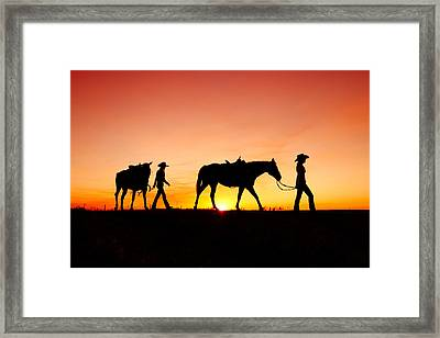 Off To The Barn Framed Print