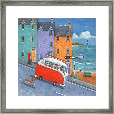 Off To The Beach Variant 1 Framed Print by Peter Adderley