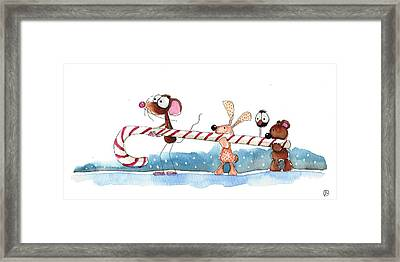 Off To The North Pole Framed Print by Lucia Stewart